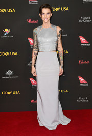 Ruby Rose was modern-glam in a slashed silver column dress by Kaufmanfranco at the 2018 G'Day USA Black Tie Gala.