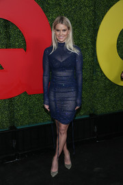 Alice Eve added a bright spot with a pair of glitter pumps by Nicholas Kirkwood.