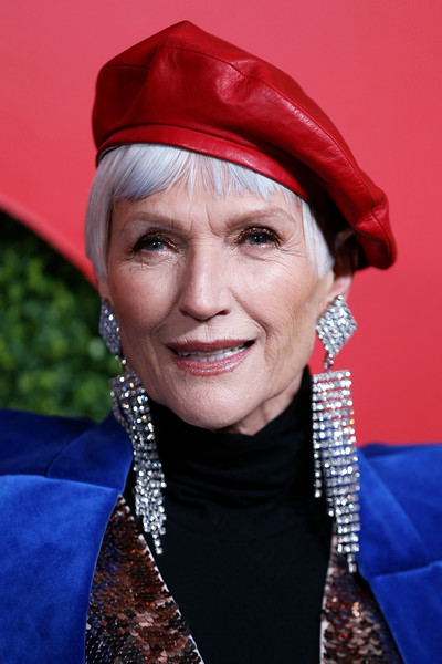 More Pics of Maye Musk Printed Belt (2 of 4) - Belts Lookbook - StyleBistro [red,lady,head,beauty,headgear,smile,hat,fashion accessory,electric blue,arrivals,maye musk,beverly hills,california,benedict estate,gq men of the year party]