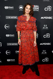 Katie Holmes was a boho cutie in a red print dress by Isabel Marant at the 2018 Global Citizen Festival.