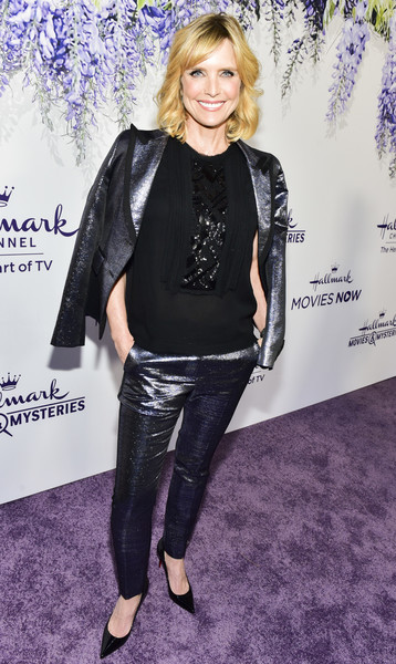 Courtney Thorne-Smith shimmered in a gunmetal pantsuit at the 2018 Hallmark Channel Summer TCA event.