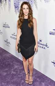 Jessica Lowndes attended the 2018 Hallmark Channel Summer TCA event wearing a David Koma LBD with a fringed skirt.