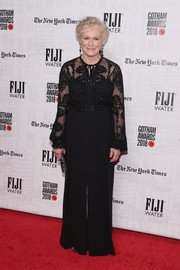 Glenn Close opted for a black lace-bodice jumpsuit by Zuhair Murad when she attended the 2018 Gotham Independent Film Awards.