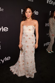 Constance Wu looked romantic in a strapless floral gown by Brock Collection at the 2018 InStyle Awards.