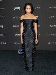 Zoe Kravitz looked perfectly polished in a pearl-studded off-the-shoulder gown by Gabriela Hearst at the 2018 LACMA Art + Film Gala.