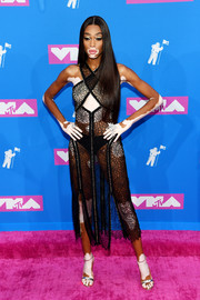Winnie Harlow rocked a barely-there black lace dress by Sonia Rykiel at the 2018 MTV VMAs.