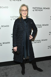 A black Michael Kors box clutch rounded out Meryl Streep's look.