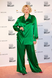 Gwendoline Christie worked the pajama trend with these loose green satin pants by Giles Deacon at the 2018 New York City Ballet Fall Gala.