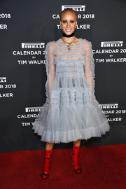 Adwoa Aboah got frilled up in a pale-blue ruffle dress by Molly Goddard for the 2018 Pirelli Calendar launch.