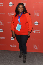 Octavia Spencer was casual in a red sweater and black jeans at the 2018 Sundance Film Festival Artist at the Table reception.