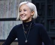 Andrea Riseborough looked cute with her platinum-blonde bob at the 2018 Sundance Film Festival Cinema Cafe.