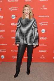Claire Danes bundled up in a loose striped boatneck sweater for the Sundance premiere of 'A Kid Like Jake.'