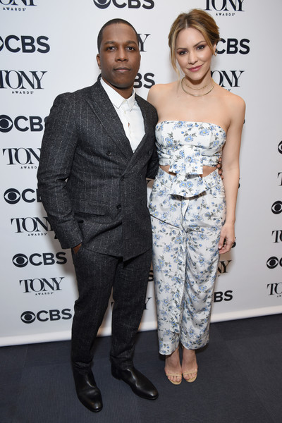More Pics of Katharine McPhee Chignon (1 of 68) - Katharine McPhee Lookbook - StyleBistro [suit,clothing,hairstyle,dress,fashion,shoulder,formal wear,fashion design,premiere,tuxedo,leslie odom jr.,katharine mcphee,tony awards,the new york public library for the performing arts,new york city,nominations announcement,tony awards nominations announcement]