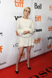 Black velvet and PVC mules by Sophia Webster finished off Kristen Stewart's look.