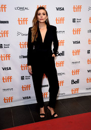 Elizabeth Olsen kept it simple yet smart in a black tuxedo jumpsuit by A.L.C. at the TIFF premiere of 'Sorry for Your Loss.'