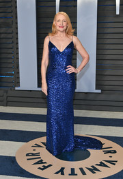 Patricia Clarkson looked downright fab in a royal-blue sequin slip gown by Christian Siriano at the 2018 Vanity Fair Oscar party.