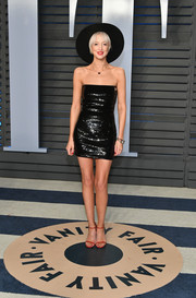 Andrea Riseborough showed off her slim figure in a strapless, sequined LBD at the 2018 Vanity Fair Oscar party.
