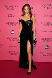 Barbara Palvin went for edgy glamour in a dual-textured off-one-shoulder gown by John Paul Ataker at the 2018 Victoria's Secret after-party.
