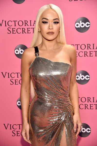 More Pics of Rita Ora Long Straight Cut (1 of 5) - Rita Ora Lookbook - StyleBistro [clothing,shoulder,dress,hairstyle,blond,joint,red carpet,fashion,eyelash,long hair,pink carpet arrivals,rita ora,new york,pier 94,victorias secret fashion show]