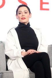 Rose McGowan made an appearance at the 2018 Winter TCA Tour wearing a black turtleneck under a white jacket.