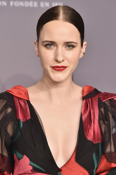 Rachel Brosnahan styled her hair into a slicked-down center-parted ponytail for the 2018 amfAR Gala New York.