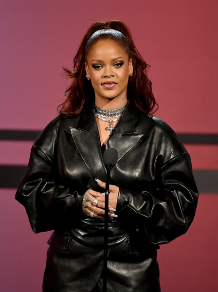 Rihanna teamed a pair of Loree Rodkin diamond rings with a black leather outfit for the 2019 BET Awards.