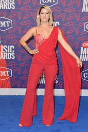 Cassadee Pope chose a red Luciana Balderrama jumpsuit with a corset underlay for the 2019 CMT Music Awards.