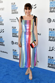 Katie Aselton looked delightful in a rainbow-sequined dress by Rixo London at the 2019 Film Independent Spirit Awards.