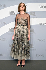 Maya Hawke went the ladylike route in a gray floral dress by Dior at the 2019 Guggenheim International Gala.