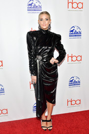 Ashlee Simpson was goth-chic in a draped black dress by Galia Lahav at the 2019 Hollywood Beauty Awards.