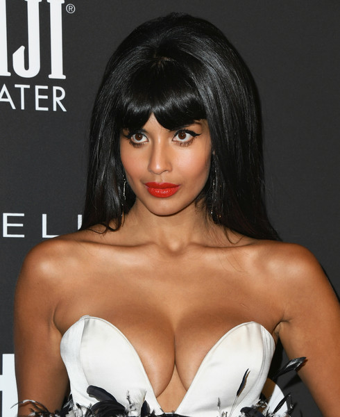 More Pics of Jameela Jamil Retro Hairstyle (5 of 10) - Jameela Jamil Lookbook - StyleBistro [hair,hairstyle,black hair,bangs,lip,beauty,chin,long hair,brown hair,chest,arrivals,jameela jamil,instyle awards,the getty center,los angeles,california]