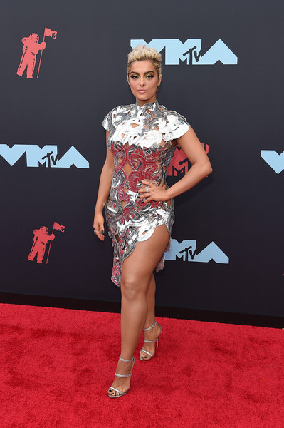 More Pics of Bebe Rexha Messy Updo (1 of 5) - Bebe Rexha Lookbook - StyleBistro [red carpet,clothing,carpet,flooring,fashion,fashion model,human leg,leg,footwear,dress,arrivals,bebe rexha,mtv video music awards,prudential center,newark,new jersey]