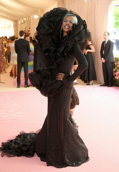 Laverne Cox got decked out in a mega-ruffled fishtail gown by Christian Siriano for the 2019 Met Gala.