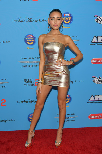 Madison Beer glowed on the red carpet in a strapless gold mini dress at the 2019 Radio Disney Music Awards.