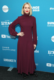 Naomi Watts donned a high-neck burgundy maxi dress for the Sundance Film Festival premiere of 'Luce.'