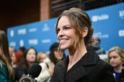 Hilary Swank styled her hair into a messy updo for the Sundance Film Festival premiere of 'I Am Mother.'