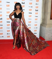 Kerry Washington cut a glamorous figure in a Zuhair Murad Couture gown that featured a mixed-print skirt and a flowing train at the TIFF premiere of 'American Son.'