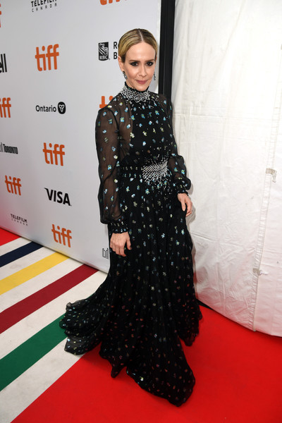 Sarah Paulson looked regal in an embroidered black gown by Prada at the TIFF premiere of 'The Goldfinch.'