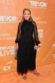 Kelly Ripa went the ladylike route in a sheer-sleeve lace dress at the 2019 TrevorLIVE New York Gala.