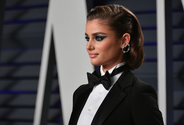 More Pics of Taylor Hill Retro Updo (1 of 4) - Taylor Hill Lookbook - StyleBistro [oscar party,vanity fair,taylor hill,hair,hairstyle,suit,beauty,fashion,formal wear,tuxedo,white-collar worker,blond,model,beverly hills,california,wallis annenberg center for the performing arts,radhika jones - arrivals,radhika jones]