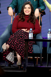 America Ferrera dolled up her top with a heart-print maxi skirt.