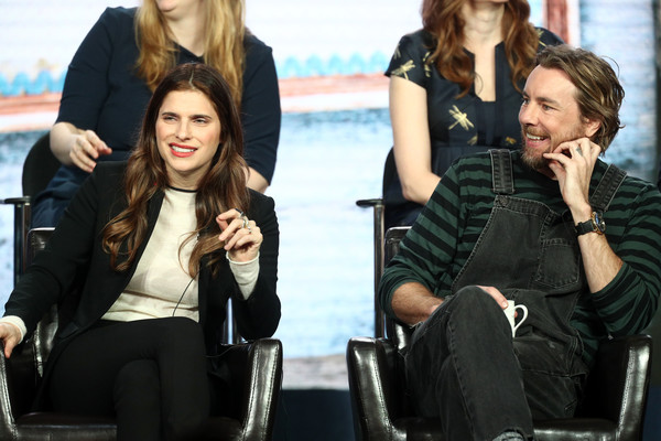 More Pics of Lake Bell Long Wavy Cut (2 of 15) - Lake Bell Lookbook - StyleBistro [television show,bless this mess,hairstyle,sitting,fashion,human,conversation,long hair,event,photography,jacket,gesture,lake bell,dax shepard,pasadena,california,winter tca,abc,segment,winter television critics association press tour]