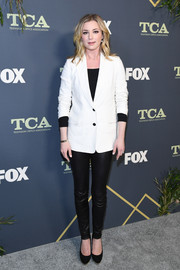 Emily VanCamp kept it simple yet smart in a white blazer at the 2019 Fox Winter TCA Tour.