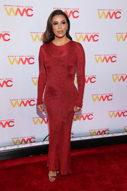Eva Longoria sheathed her figure in a body-con red knit gown by Philosophy di Lorenzo Serafini for the 2019 Women's Media Awards.