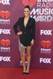 Jana Kramer rocked a black Philipp Plein tux dress with silver fringe detail at the 2019 iHeartRadio Music Awards.