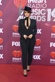 Bebe Rexha kept it low-key in a black jumpsuit at the 2019 iHeartRadio Music Awards.