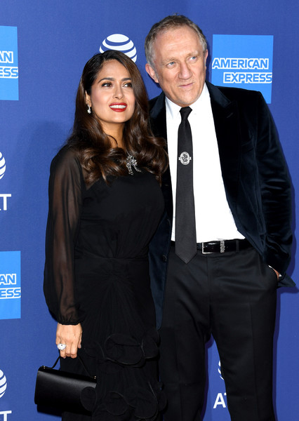 More Pics of Salma Hayek Long Curls (1 of 10) - Salma Hayek Lookbook - StyleBistro [suit,event,premiere,formal wear,electric blue,white-collar worker,tuxedo,carpet,arrivals,henri pinault,salma hayek,l-r,fran\u00e3\u00a7,palm springs convention center,california,palm springs international film festival film awards gala,fran\u00e7ois-henri pinault,salma hayek,2020 palm springs international film festival,february 22 2020,actor,celebrity,photography,2020,businessperson]