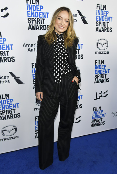 Olivia Wilde mixed her stripes and polka dots in this Saint Laurent ensemble at the 2020 Film Independent Spirit Awards nominees brunch.