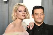 Lucy Boynton contrasted her sweet tulle dress with an edgy black mani for the 2020 Vanity Fair Oscar party.