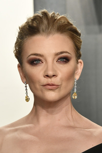 Natalie Dormer looked edgy-glam with her pompadour at the 2020 Vanity Fair Oscar party.